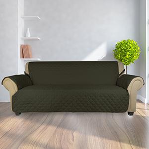 KINLO Funda de sofá Apta para sofás Normales de 3 plazas Sofa Protector Cubierta 167 × 165 cm cuadrícula diseño Color Verde Oscuro