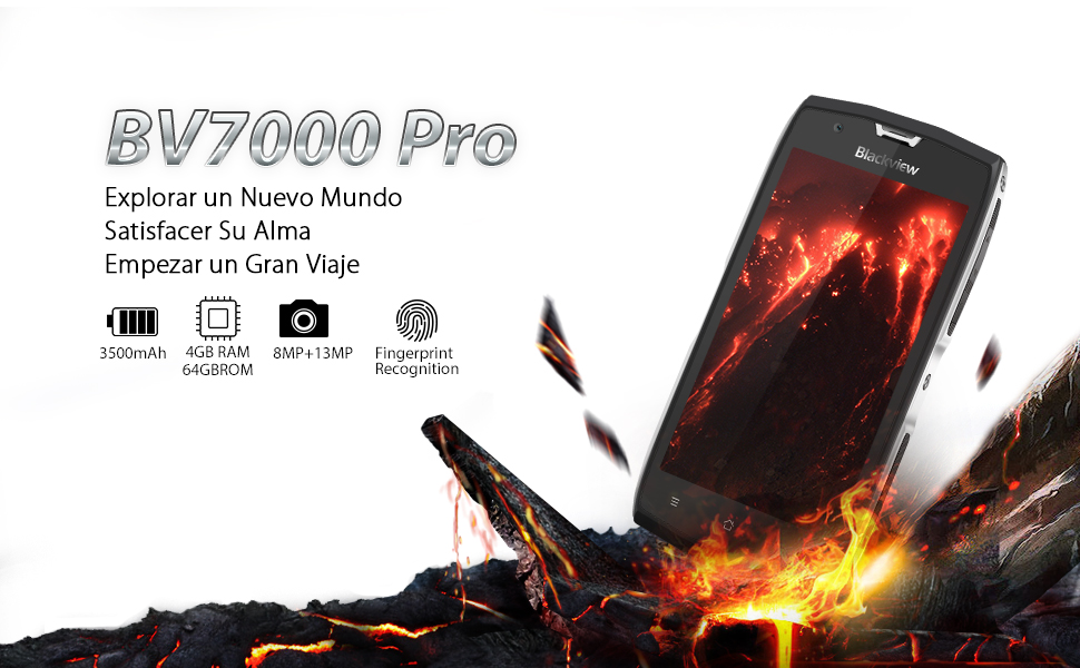 Blackview BV7000 Pro - IP68 Teléfono Móvil (5.0 Pulgadas Pantalla, 4GB RAM 64GB ROM, Cámara 13MP, Mobiles Antigolpes, Dual SIM, Android 7.0, Octa ...