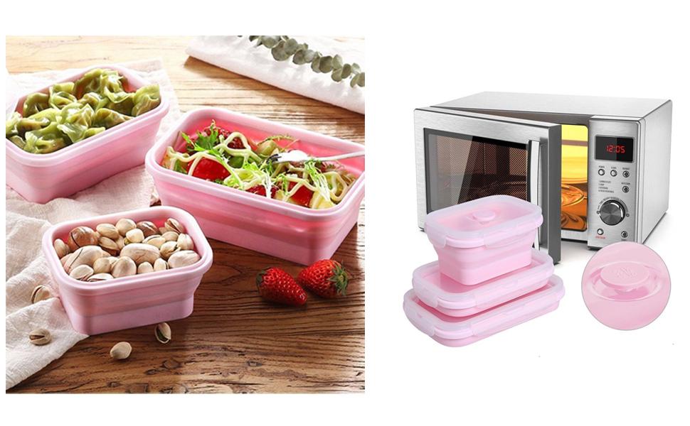 Set de 3 recipientes de silicona plegable/Bol para cocinar ...