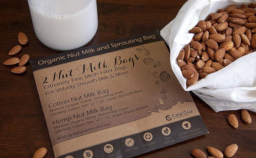 bolsa para leche de nueces