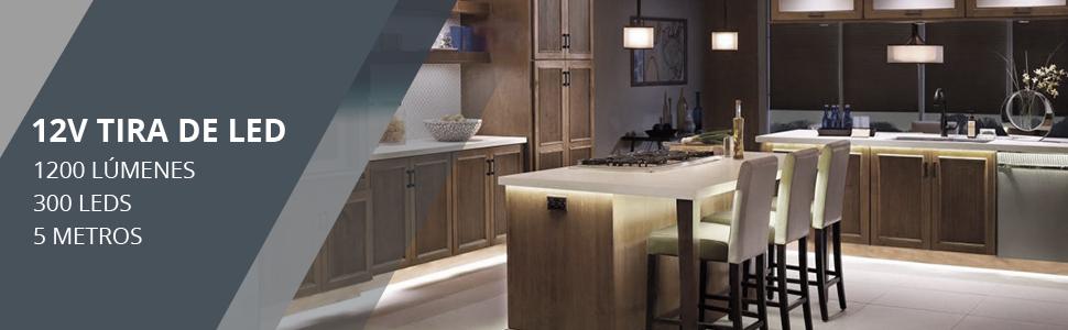 LE Tira LED, Cadena de Luces, 5m 300 LED SMD 2835, Blanco Frío No Impermeable 6000K para Techo, Escaparate, Muebles, etc.: Amazon.es: Iluminación