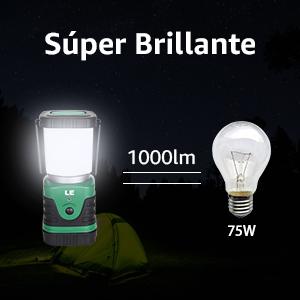 LE Linterna de Camping Recargable, Lámpara de Camping LED 1000 lúmenes, Farol Camping 4 Modos Luz de Emergencia, Luz de Carpa Resistente al Agua para ...