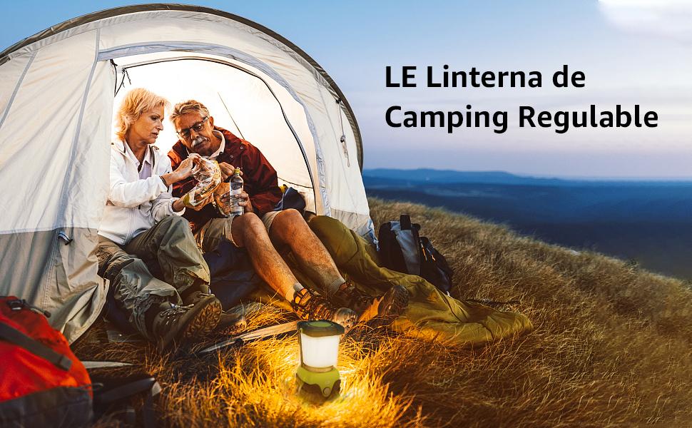 LE Linterna de Camping, Farol de Camping Regulable 1000 Lumen, 4 Modos Luz de Emergencia, Luces de Tienda Resistentes al Agua para Camping, ...