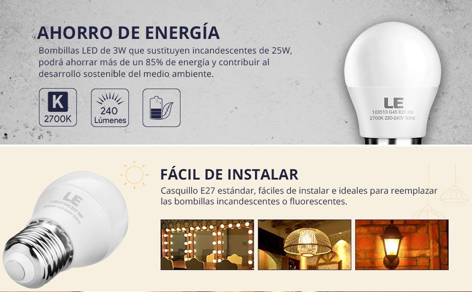 Blanco cálido puro de 2700 kelvin, estas bomibllas LED de 3W producen una luz natural de 240 lúmenes sin deslumbramiento ni parpadeos.