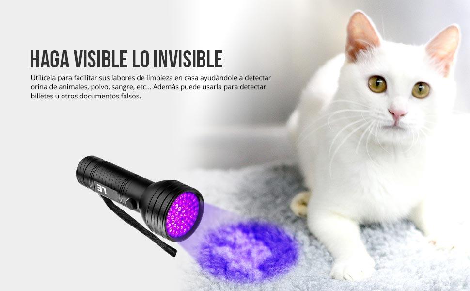 LE 51 LED Linterna ultravioleta Potente Detectar manchas de orina de ...