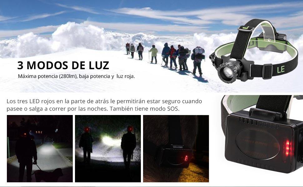 LE Linterna frontal LED CREE, Linterna de Cabeza 5 Modos, Zoomable, Luz roja trasera, Alcance Máx. 160m, Resistencia al agua, Pilas incluidas, ...