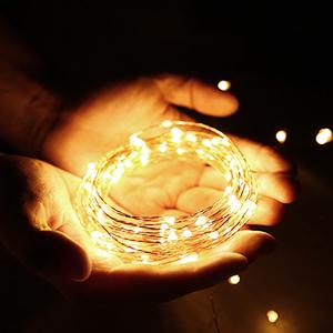LE 10m 100 LED Luces de Cadena Blanco Cálido, Guirnalda de Luces LED Impermeable IP65, Cadena de Luces LED Decoración de Fiestas, Casa, Arbol de ...