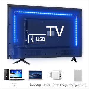 LE 2M LED TV Backlights Kit, tira de luz USB con mando a distancia, 5050 RGB, cambio de color, regulable Bias iluminación para 32 – 65 pulgadas TV PC ...