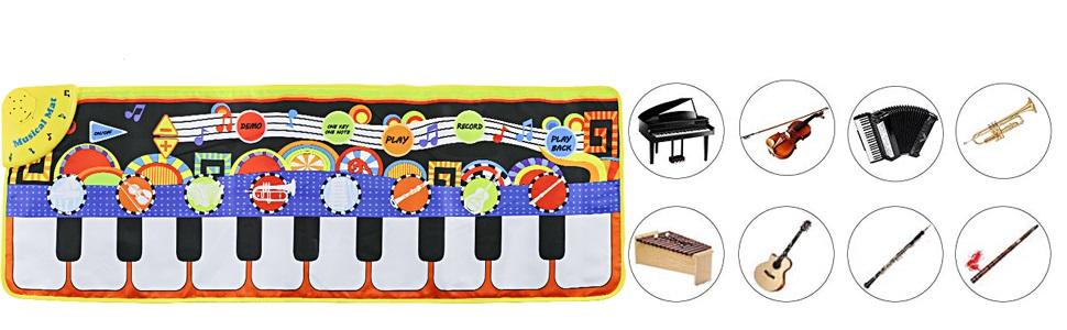 alfombra de teclado para niños de 19 teclas