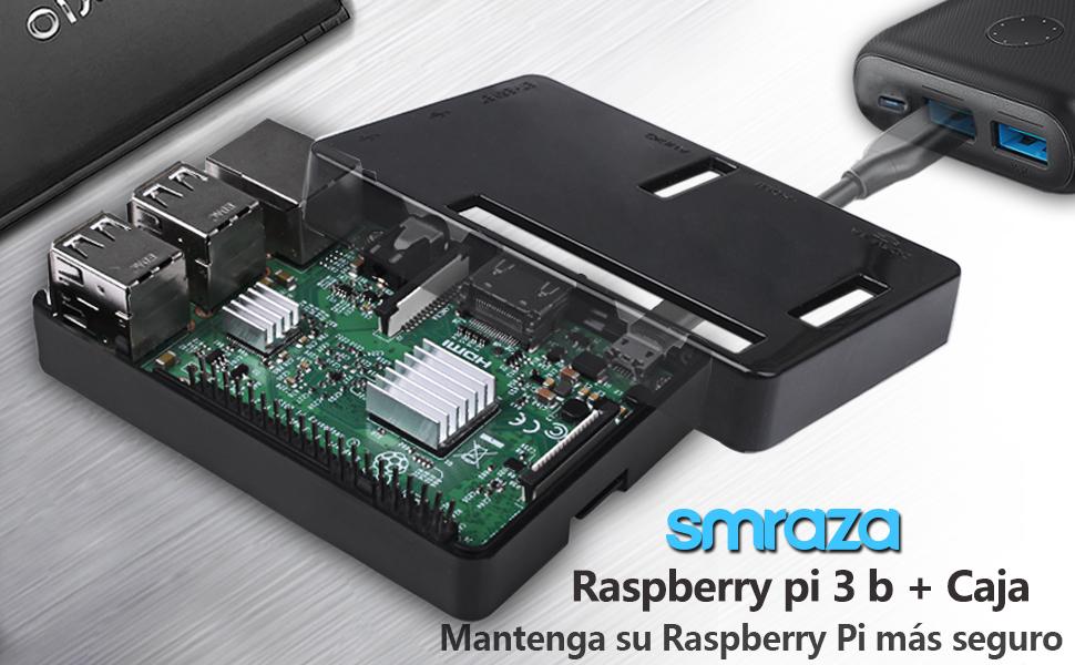 Smraza para Caja Raspberry Pi 3 b+ con Cargador + 2 x Disipador + Cable USB con Conector ON/Off Compatible con Carcasa Raspberry Pi 3 b+ 3 2 Model b ...