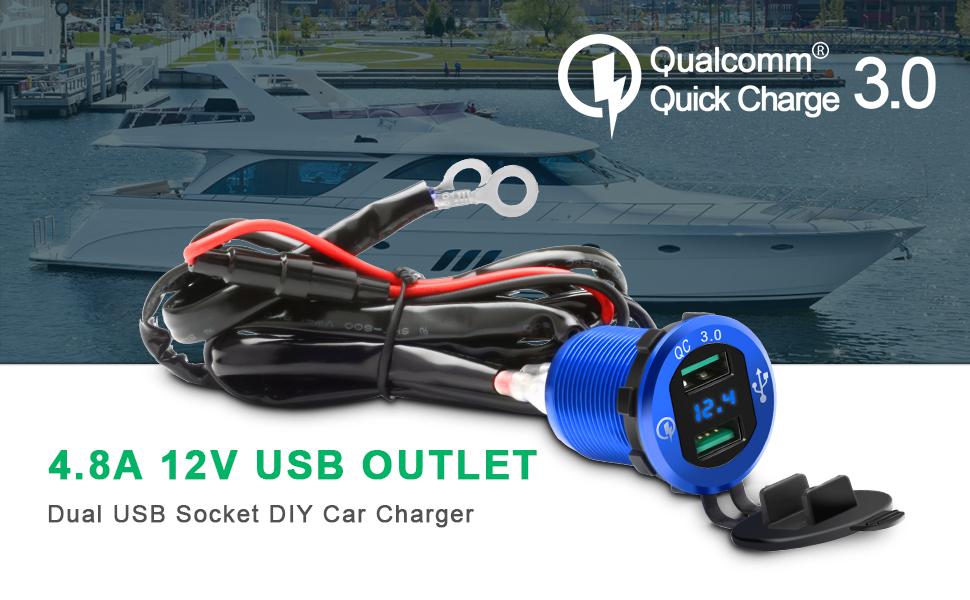 Toma USB Cargador para Coche Barco Motocicleta 12V24V USB QC3.0 Adaptador Doble USB Cargador Móvil Impermeable Pantalla LED Digital para Casi Todos ...
