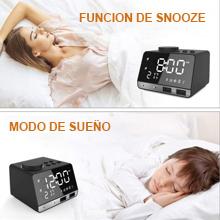 Weixinbuy Radio despertador de Bluetooth Altavoces con despertador doble con 2 puertos de carga USB, repetición, reproducción de tarjeta AUX TF, ...