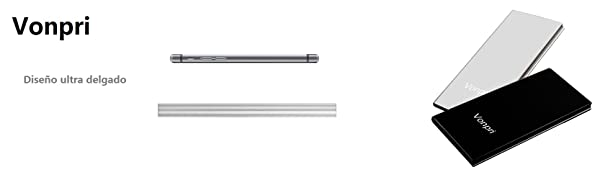 Vonpri Power Bank 10000mah Cargador Móvil Portátil Batería Externa para iPhone y Android Dispositivos (Plata)