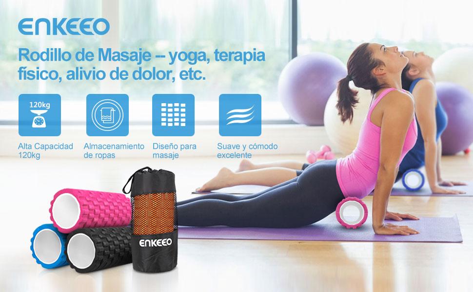 """Enkeeo - Rodillo de Masaje Muscular, Foam Roller Rodillo de Espuma (Cilindro de gomaespuma, EVA material, 6"""" x 12"""", terapia físico, intrucciones ..."""