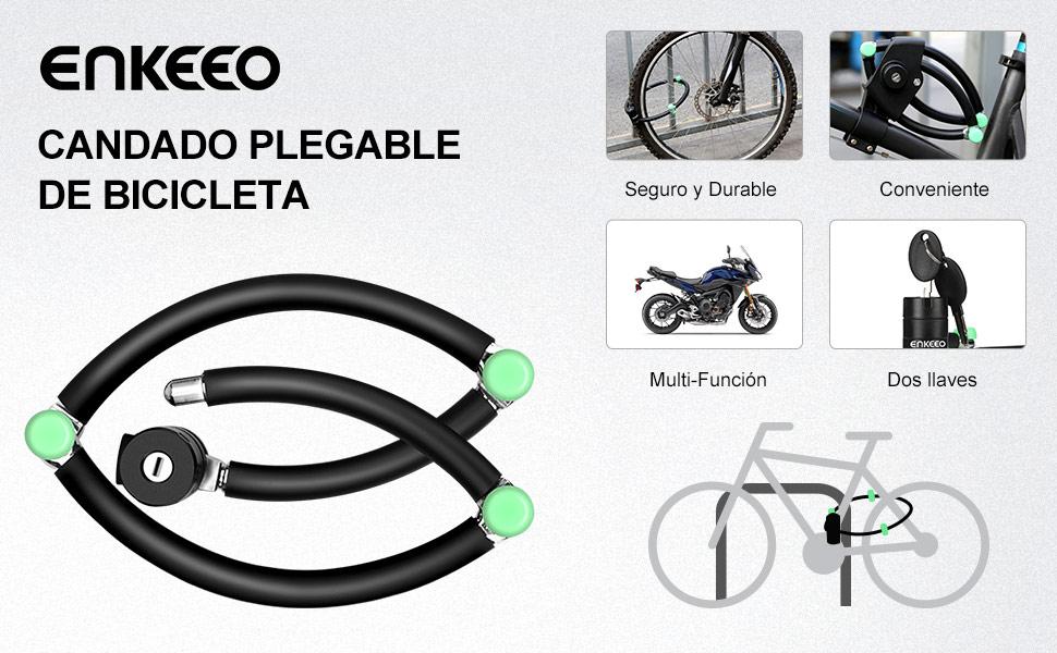 Enkeeo - Candado Plegable, Candado de Bicicleta (Soporte de ...