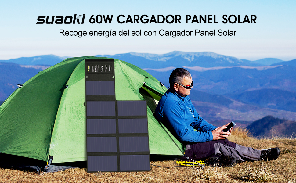 SUAOKI - 60W Cargador Panel Solar Placa Solar Plegable para Smartphones y Dispositivos Electrónicos con USB de USB 5V/2A,DC18V/3A