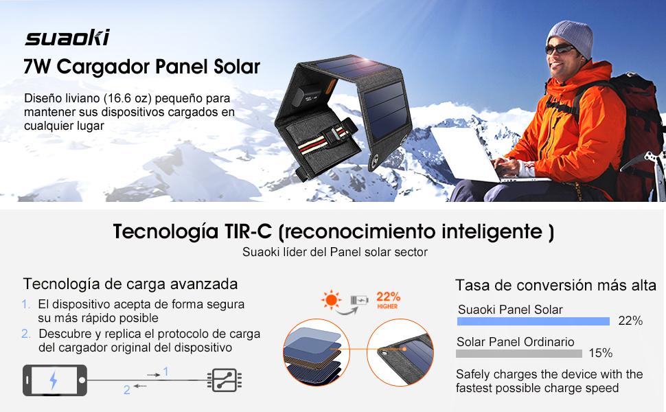 SUAOKI - 7W Cargador Panel Solar Placa Solar Plegable para Smartphones y Dispositivos Electrónicos con USB de USB 5V/1A