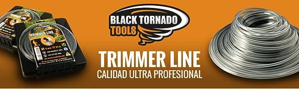 Hilo para desbrozadora - DOBLE - Cuadrado - 2,4mm - 67m - Calidad Ultra Professional - 2 hilos en 1- Embalaje Premium (2,4 mm x 67 m) Black Tornado ...