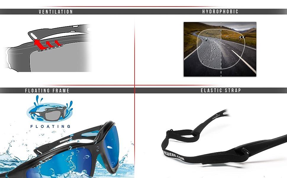 eb4976ecbdd6a BERTONI Gafas Deportivas Polarizadas Hidrofóbicas - Envolventes a Prueba de Viento  para Ciclismo Carrera Deporte Acuaticos Esqui Pesca Kitesurf P1000