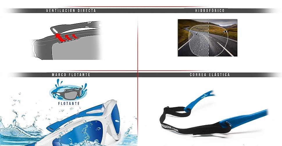 91e515165b091 Gafas Deportivas Polarizadas Hidrofóbicas Envolventes a Prueba de Viento  para Ciclismo Carrera Deporte Acuaticos Esqui Pesca Kitesurf by Bertoni  P1000