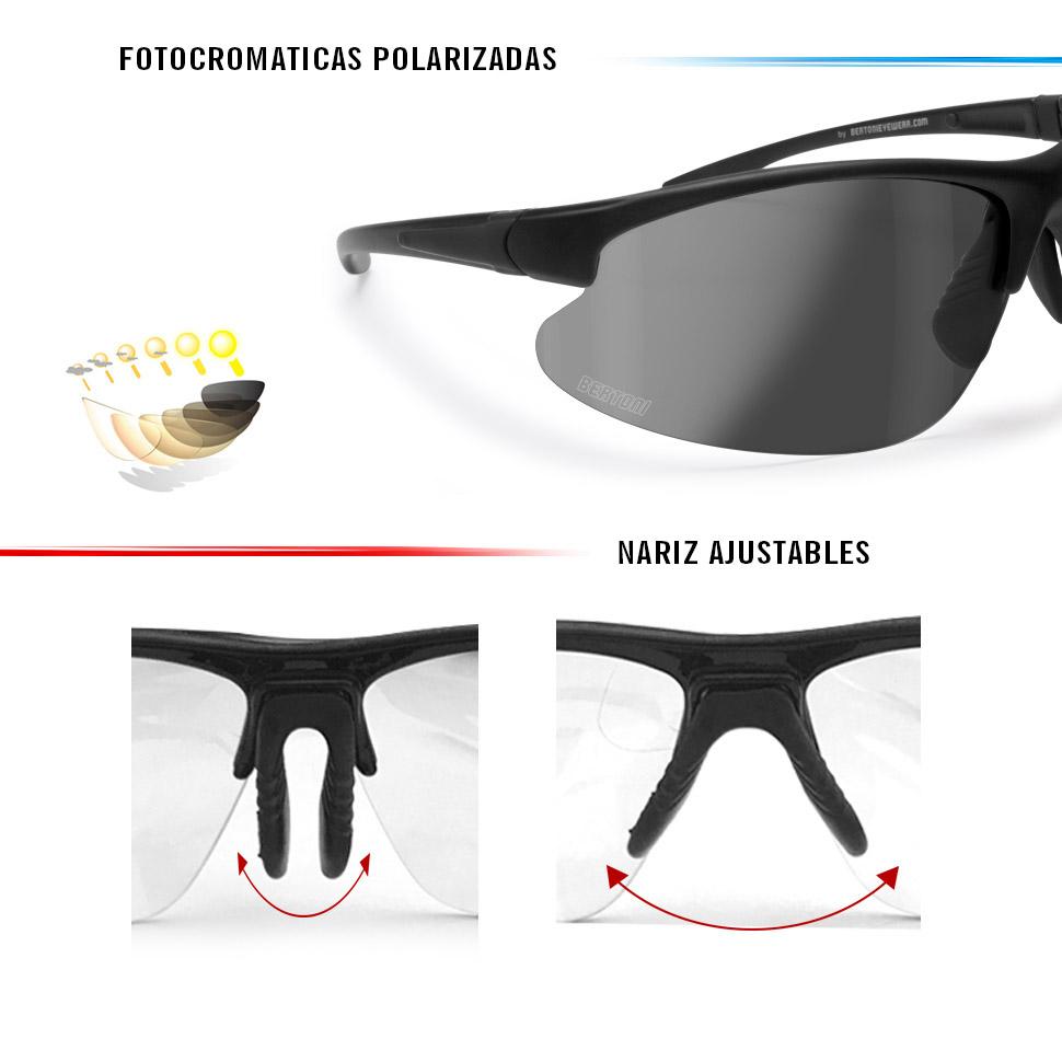 BERTONI Gafas Deportivas Fotocromaticas Polarizadas Envolventes a Prueba de Viento de Ciclismo Carrera Running Moto Deporte - Mod. Italy P301AFT: Amazon.es: Deportes y aire libre