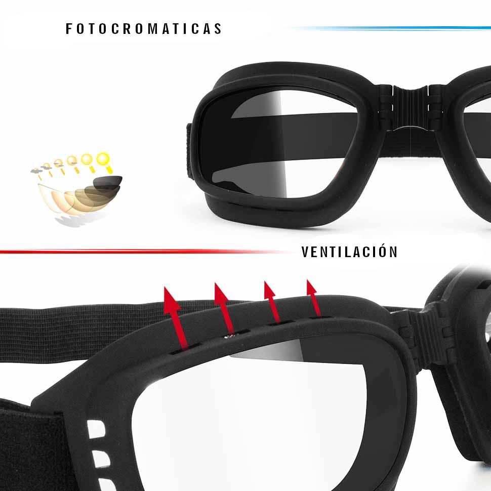 9c625a9322 Gafas de Moto Fotocromaticas Antivaho con Ventilación Directa - Elástico  Ajustable- by Bertoni Italy F112A