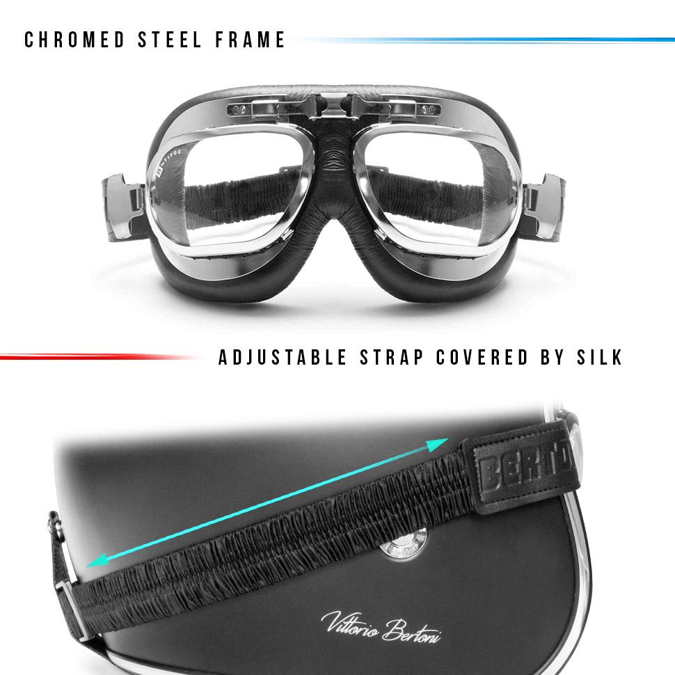 BERTONI Gafas Moto Mascara Vintage Aviadoras Montura de Acero Lentes Anti-Vaho Resistente a los Impactos Mod. AF191
