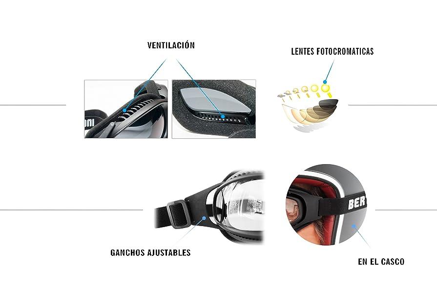 d3380624f3 Gafas Moto Fotocromaticas Antivaho Cordón Ajustable para Casco - Interior  Acolchado - Bertoni F113 Negro Opaco (Lente Fotocromatica)
