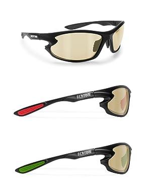 BERTONI Gafas de Sol Deportivas Polarizadas Fotocromaticas para Deporte Ciclismo Moto Pesca Esqui Golf Running - 676 Italy para Hombre y Mujer (Negro - Verde/Lens Fotocromatica Amarillo): Amazon.es: Deportes y aire libre