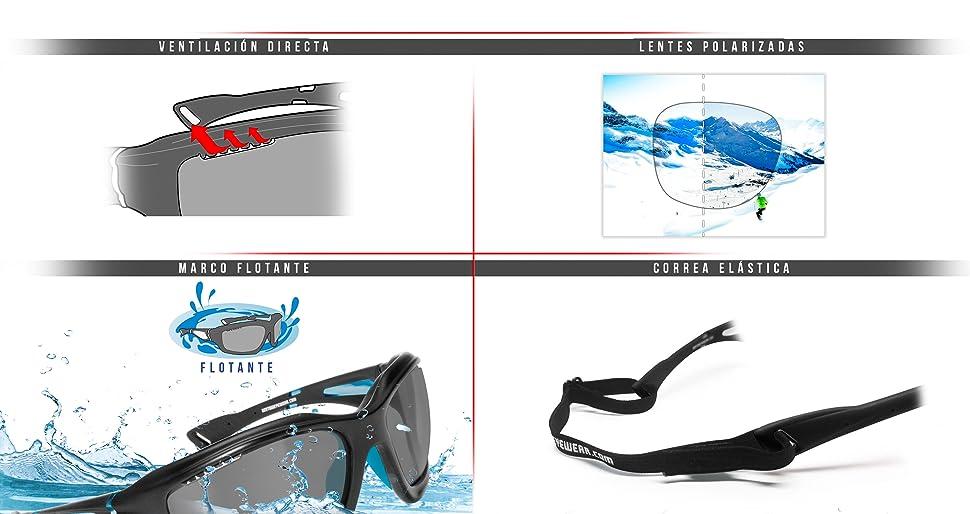 Gafas de Sol Deportivas Polarizadas Fotocromáticas para Deporte Ciclismo MTB Pesca Esqui Golf Running Kitesurf - P1000FT Bertoni Italy (Blanco - Azul Mate)
