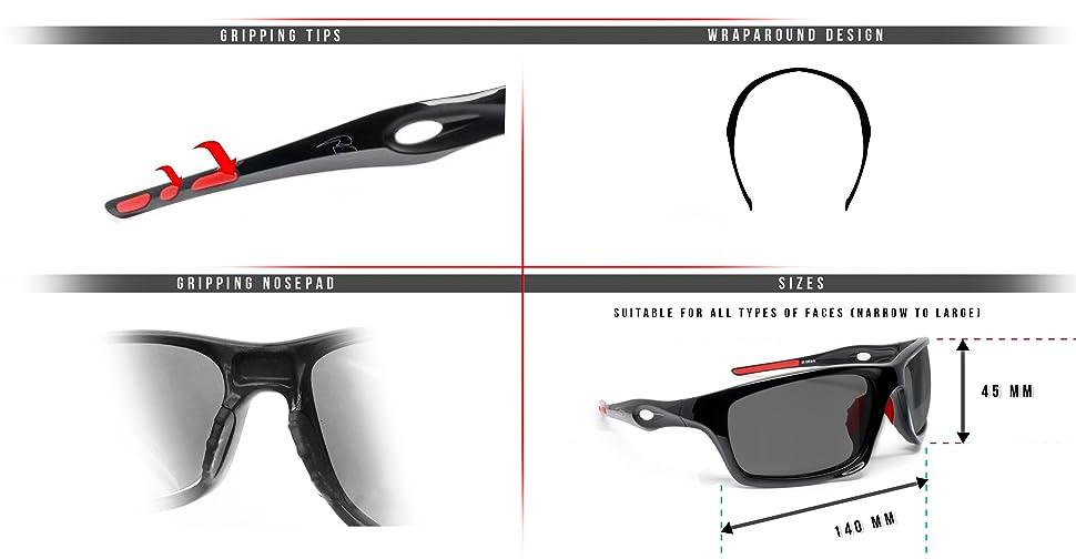 BERTONI Gafas Deportivas Fotocromaticas de Ciclismo Moto Running Esquí Pesca Envolventes a Prueba de Viento Mod. Omega Italy (Negro Brillante/Rojo - Fotocromáticas Polarizadas): Amazon.es: Deportes y aire libre