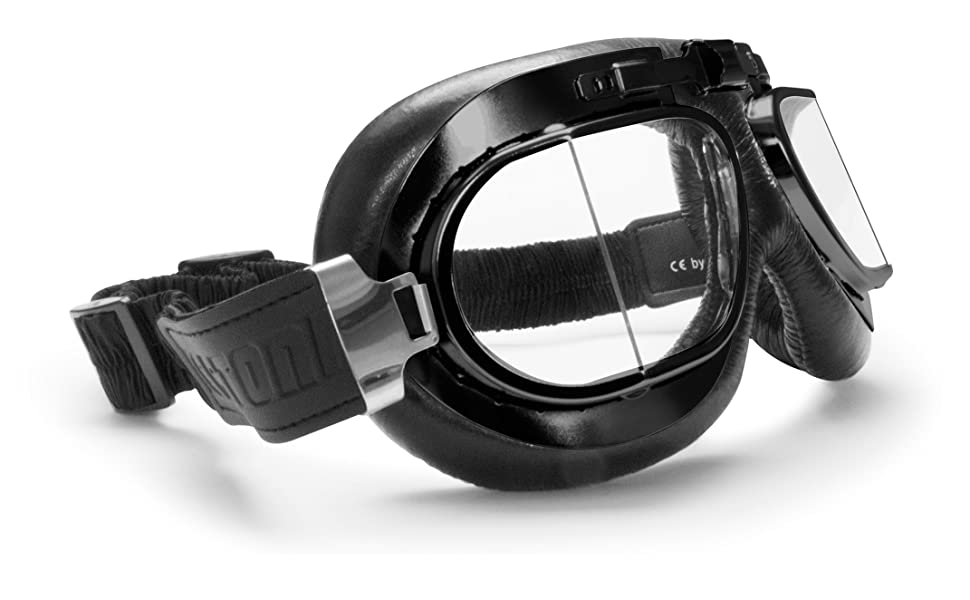 e6852f5903 BERTONI Gafas para Moto Retro Aviadoras con Lentes Antivaho y Montura de  Acero Negro Matt AF193A