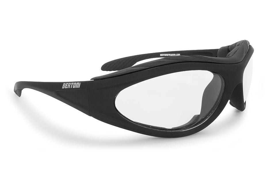 BERTONI Gafas de Moto Fotocromaticas con Lentes Antivaho - Inserto de Espuma Extraíble - F125 Italy