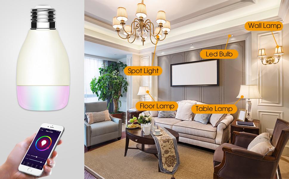 Bombilla WiFi,Inteligente Smart LED WiFi Lámpara E27 7W, Control ...