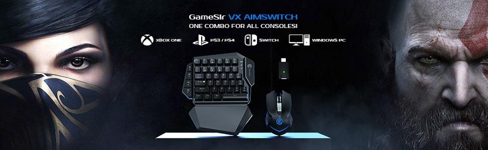 GameSir VX AimSwitch E-Sports Combo, Pack de Teclado y Ratón para Xbox Series X, Xbox One, PS4, PS3