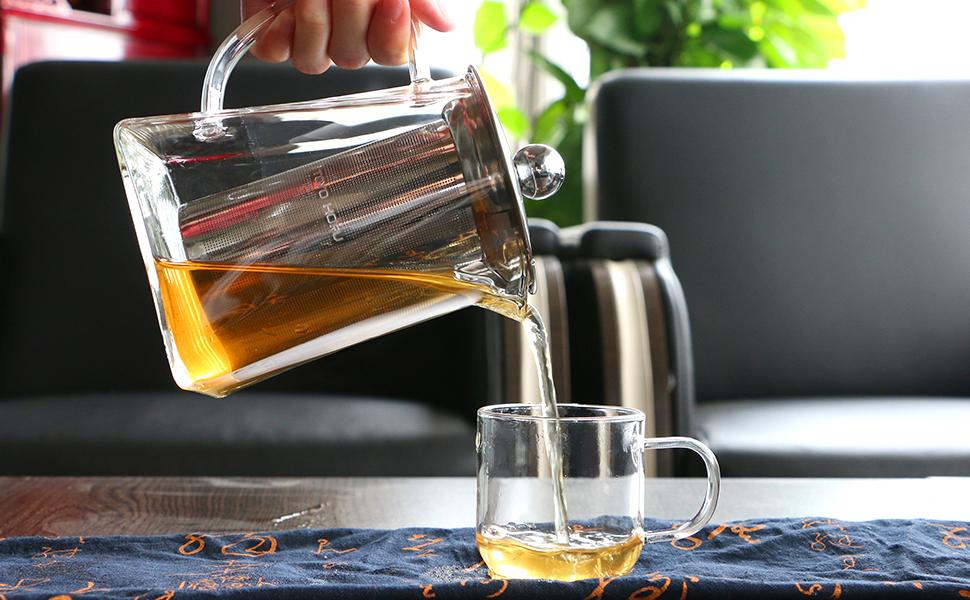 TOYO HOFU - Tetera de cristal transparente resistente al calor con infusor de acero inoxidable, 1200 ml, cristal de borosilicato, 600 ml