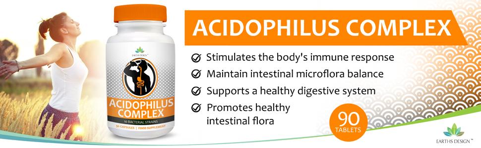 Complejo Acidophilus - 10 Cepas Bacterianas - 1+ Millones de UFC - Alta Concentración - Para Hombres y Mujeres - Apto Vegetarianos - 90 Cápsulas (Suministro 3 Meses) de Earths Design: Amazon.es: Salud y cuidado personal