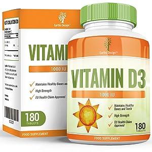 Vitamina D 1000 IU - Colecalciferol - Alta Concentración y Absorción - Vitamin D3 - Para Hombres y Mujeres - Apto Vegetarianos - 180 Pastillas ...