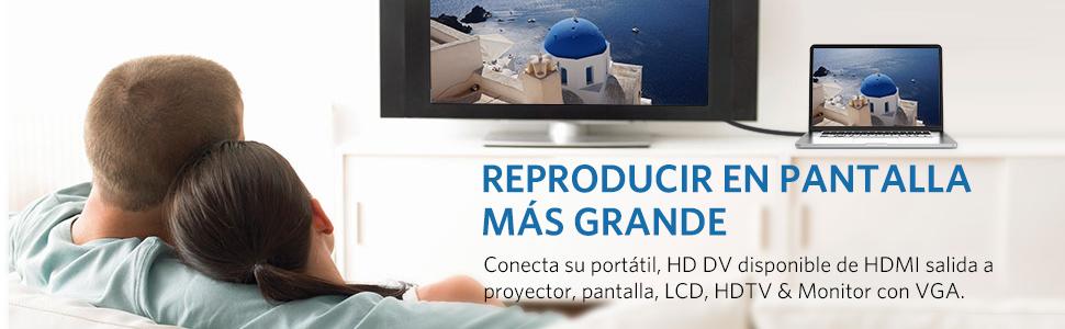 Adaptador HDMI a VGA, UGREEN Convertidor HDMI a VGA Macho a Hembra, 1080P Conversor con Audio 3.5 mm y Mirco USB Cable de Carga para PC, HDTV, Proyectores, Monitor, Rasberry Pi, PS4/3,