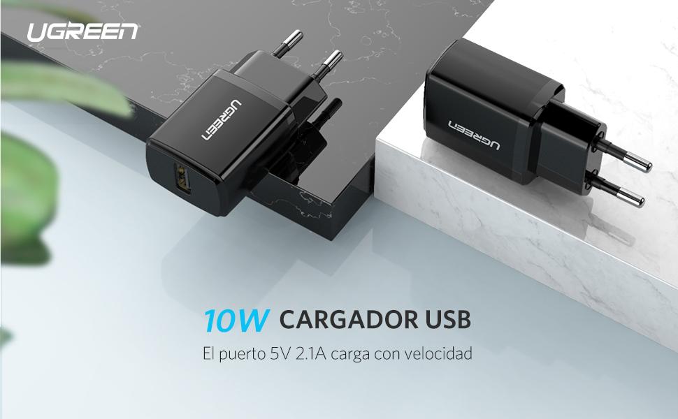 UGREEN Cargador USB 5V 2.1A Adaptador Cargador 10W Enchufe USB de Pared para Samsung S8, Huawei P20 Lite, xiaomi, Levono, HTC, LG, MP3, Stick TV, ...