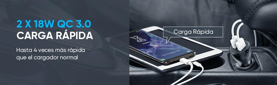 Cargador Coche Carga Rápida QC 3.0, UGREEN 36W Cargador Móvil Coche Doble Puerto USB Quick Charge 3.0 para Samsung S10 S8 S9, Xiaomi Redmi 7 Redmi ...