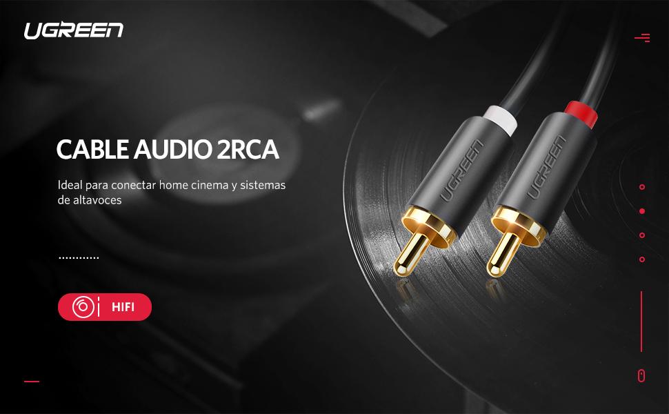 UGREEN Cable RCA a RCA, 3 Metros Cable de Audio 2 RCA Macho a ...