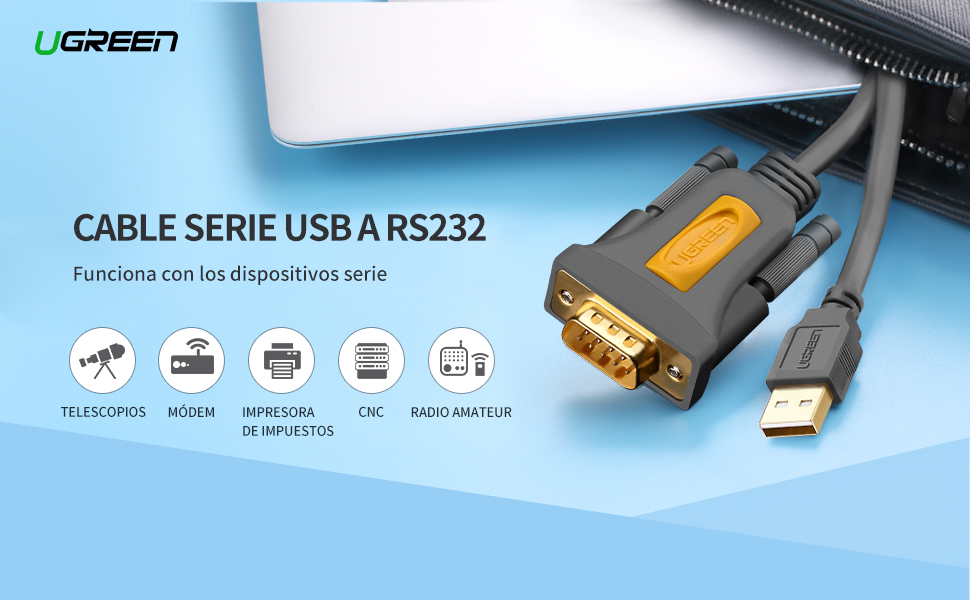 UGREEN 20222 Cable USB RS232 DB9 Puerto Serie 9 PIN, Adaptador ...