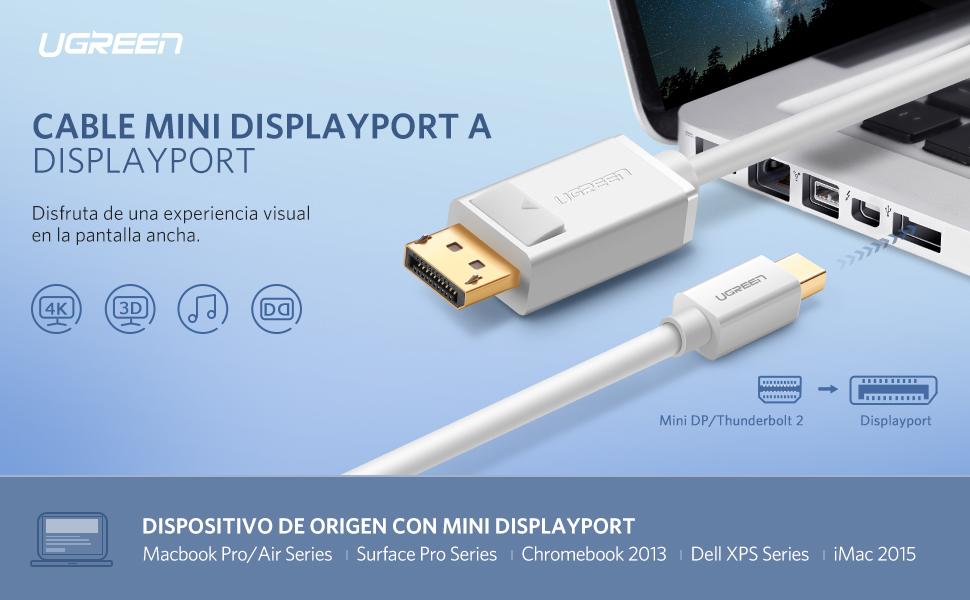 Descripción. Ugreen cable adaptador Mini DisplayPort a ...
