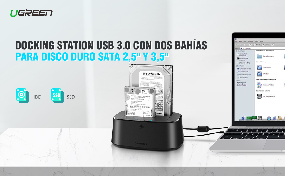 Base de Conexión Disco Duro, UGREEN UASP Docking Station Clonador ...