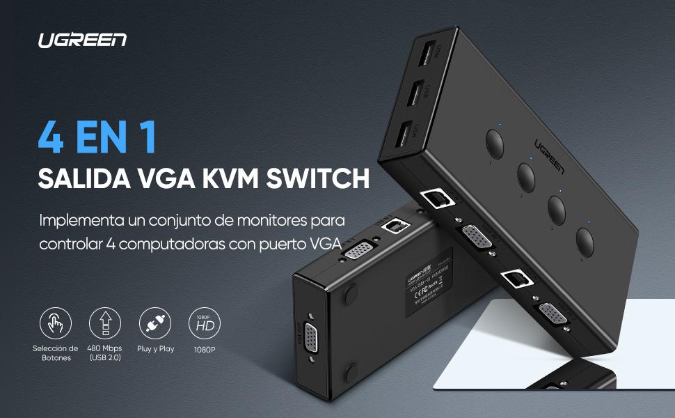 UGREEN VGA KVM Switch 4 in 1 salida 4 Puertos VGA de Conmutadores ...