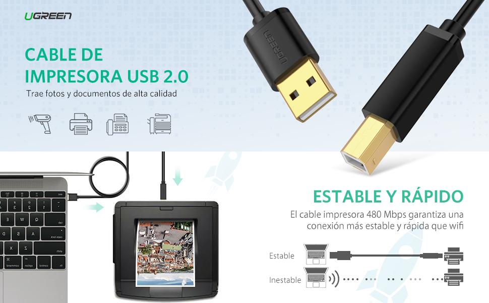 UGREEN Cable Impresora USB 2.0 Tipo A a Tipo B 1.5 Metros para HP ...