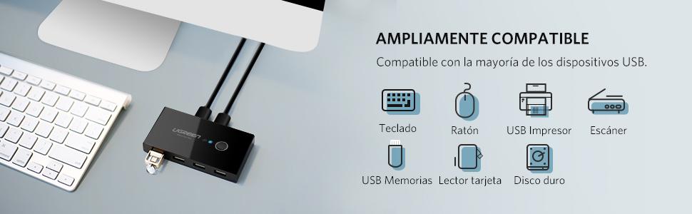 UGREEN KVM Switch USB 2.0, Conmutador USB 2 Entradas y 4 Salidas ...