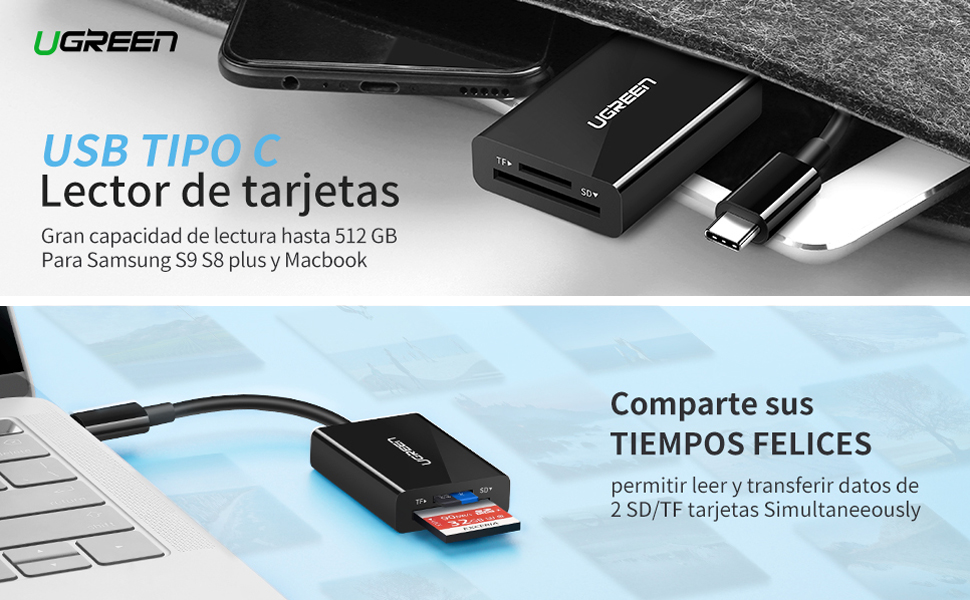LG Huawei Android Tipo C Micro USB SD TF Lector de Tarjetas para MACBOOK Samsung S8 S9