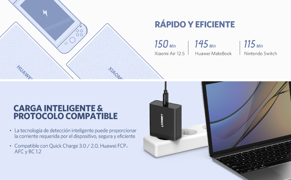 UGREEN 65W Cargador Rápido USB C PD, USB PD Cargador USB-C 65W Quick Charge QC 3.0 Adaptador de Alimentación para MacBook 2015/2016, MacBook Pro ...